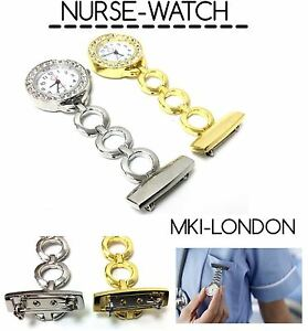 Stainless Steel Nurse Beautician Diamante Quartz Fob Round Dial Pocket Watch