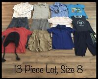 Boys Clothing Lot, 13 Items, Size 8, Distortion, Wonder Nation, Old Navy, Levi