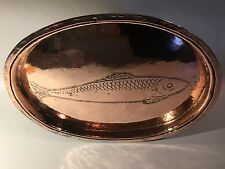 """Antique Handmade hammered copper fish pan lid - """"fish"""" hand-tooled into copper"""