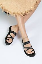 Ancient Greek style black flat real leather strappy slide sandals handmade