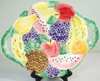 Fitz and Floyd 3D Relief Fruit Basket Tray - Oval/Round Serving Platter - 1988