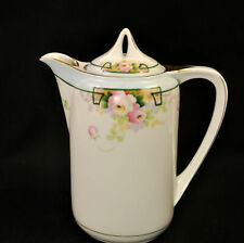 New listing Nippon Rising Sun Chocolate Pot Hand Painted Roses Art Deco Green Line 1891-1918