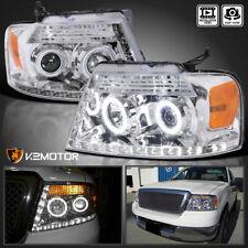 2004-2008 Ford F150 Halo+LED DRL Strip Bar Crystal Projector Headlights PAIR