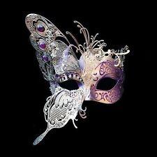 New! Masquerade Mask - Luxury Venetian Style Half Butterfly Design [Gold/Purple]