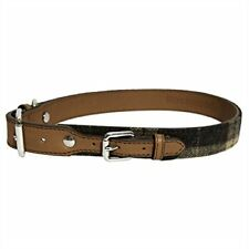 Rosewood  Luxury  Leather Dog Collar, 8-12 Inch, tartan tweed check