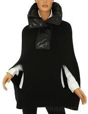 NEW MONCLER MANTELLA WOOL CASHMERE BLACK LOGO JACKET PONCHO COAT  SWEATER S