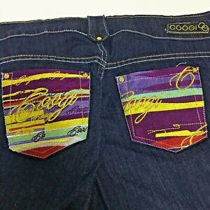 Coogi Jean Shorts Jorts Women's Size 18 W Dark Blue Embroidered Bright Stretch