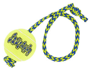 """Dog Toys Squeaker Tennis Ball With Rope Floating Fetch Retriever Tugs 15"""" Long"""