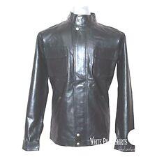 hombre chaqueta de cuero suave encerado negro HUGO BOSS noktan Auténtico MOTO