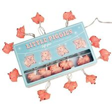 dotcomgiftshop STRING OF 10 SOFT GLOW LITTLE PINK PIGGIES PARTY LIGHTS BS PLUG