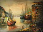 """Oil Painting on Canvas 30""""x 40""""- Cloudy Harbor"""