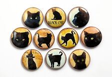 "10 BLACK CATS - Buttons Pinbacks Badges 1"" Set"