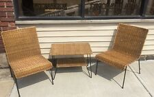 Vintage Mid Century Modern Italian 3 Piece Wicker Patio Set (B)