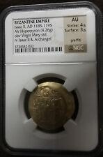 Gold Byzantine Empire Isaac Ii 1185-1195 Av Hyperpyron Ngc Au Strike 4/5 Sur 3/5
