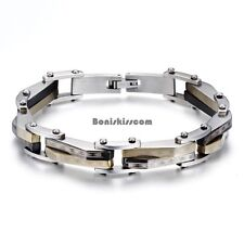 Men's Gold Silver Two Tone Stainless Steel Biker Motorcycle Link Chain Bracelet