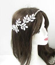 White Silver Pearl Leaf Headpiece Bridal Headband Hair Crown Grecian Baroque 489