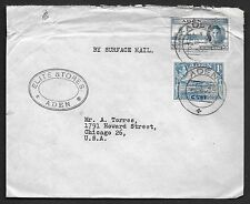 ADEN 1946 SURFACE MAIL COVER FRANKED K. GEORGE VI ISSUES TIED NEAT ADEN CANCELS