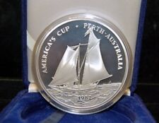 1987 SAMOA - $25 TALA - AMERICA CUP RACE - PROOF SILVER - BOX, COA - 5.0 Oz