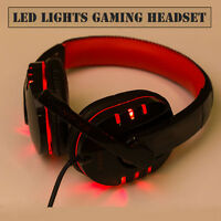 Stereo Gaming Headset Headphone USB 3.5mm LED with Mic for PC Computer Portable