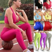 Women Yoga Suit Anti-Cellulite Bra Top Leggings Ruched Pants Sports Fitness Sets