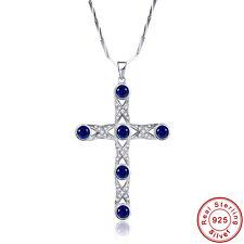 lingmei Cross Sapphire & Whtie Topaz 100% S925 Sterling Gemstone Silver Pendants