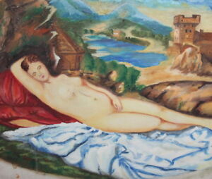 Giorgione, Sleeping Venus, 1998 nude woman portrait oil painting signed REPRO