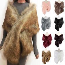 KD_ Women's Faux Fur Shawl Warp Stole Scarf for Evening Dresses Wedding Creati