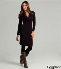 NEW Connected Apparel -Eggplant purple - Large -Cowlneck Sweater Dress