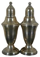 """Antique Weighted Sterling Silver Salt & Pepper Shakers Glass Lined 119g 4.6"""""""