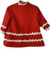 Vtg. Red Velvet Dress Lace Ric Rac 60's 5