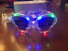 NEW SKULLS HALLOWEEN GLASSES RED, BLUE GREEN LED LIGHTS STEADY OR BLINKING PARTY