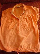 S True Vtg 70s Sherbet/Orange All Cotton Disco Peasant Hippy Top Shirt Womens