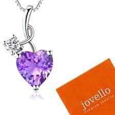 Top Herz lila Kristall Zirkonia Anhänger mit Halskette aus 925 Silber + Beutel