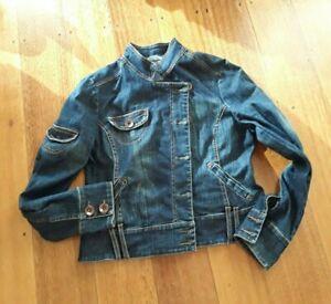 Promod women size 12 (?) denim jacket biker med blue in EPOC