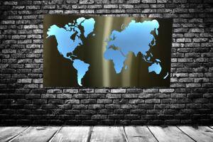 Tipp!!! Weltkarte Metall Edelstahl LED beleuchtet 100x60cm eyecatcher