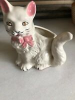 Vintage White Cat Planter Hand painted Japan Pink Bow Gold Eyes