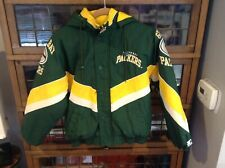 VTG 90s Rare Green Bay Packers Starter Pro Line Jacket W Hood SZ Youth M - Cool