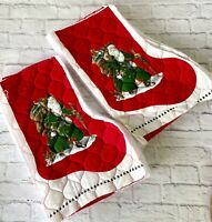 DIY Christmas Stocking Fronts Only Uncut Quilted Lot of 10 Old World Santa DIY