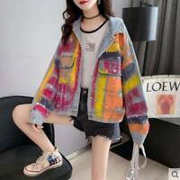 2021 New Women Graffiti Contrast Color Cardigan Coat Ladies loose denim jacket