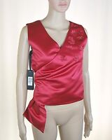 Top Donna Blusa PINKO Made in Italy Camicia Gilet H835 Rosso Tg 38 42
