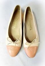 CHANEL TWO TONE LEATHER BALLERINA FLATS SHOES BEIGE CORAL CAP TOE 7 37 BOW
