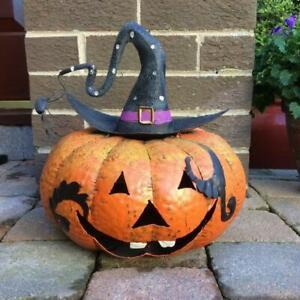 Metal Pumpkin Halloween Lantern for Doorstep Reusable Orange Decoration