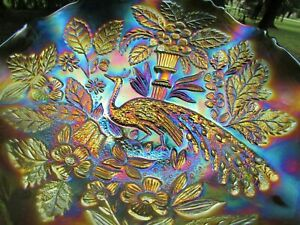 Fenton PEACOCK & URN ANTIQUE CARNIVAL ART GLASS RUFFLED BOWL~ELECTRIC GREEN!