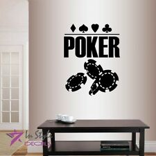 Vinyl Decal  Poker Sign Chips Cards Suits Casino Gambling Wall Art Sticker 1348