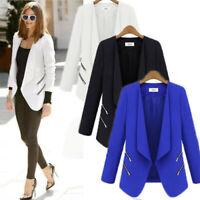 Womens Long Sleeve Slim OL Suit Casual Blazer Jacket Zipper Coat Tops Outwear