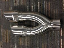 """Stainless Steel Tail Pipe Exhaust Tip 3"""" Inlet - 4"""" Dual Out - 16"""" Long"""