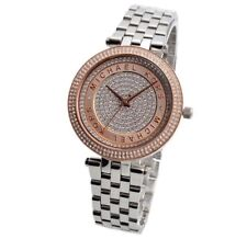 Michael Kors MK3446 Silver & Gold Rose Tone Darci Crystal Pave Dial Wrist Watch