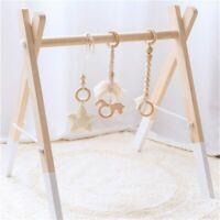 Beech Wood Unicorn Crochet Star Tassels Baby Teething Play Gym Stroller Toy Set