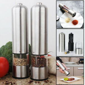 2 x Light Up Electric Auto Salt Pepper Mill Stainless Steel Electronic Grinders
