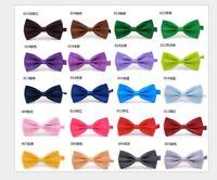 Mens Silk Satin Plain Solid Bow Tie Formal Wedding Bowtie Necktie